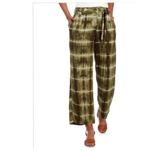 Pants - High Waisted Olive Tie Dye Front Tie Pants. XL.NWT